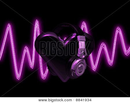 Heart headphones black