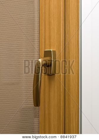 Window handle on fiberglass window. Gold color. poster