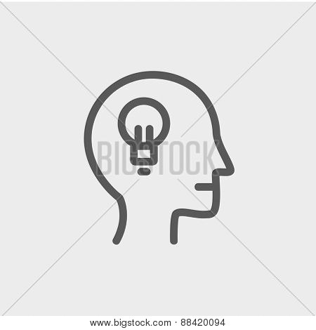 Human head with idea icon thin line for web and mobile, modern minimalistic flat design. Vector dark grey icon on light grey background.