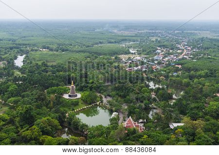 Suburbs In Thailand Country Aerial View