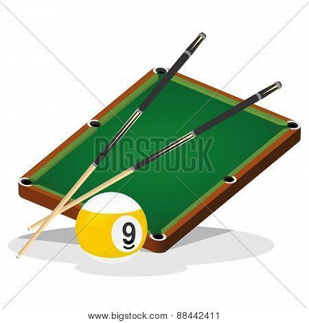 Billiard Table and Ball Vector Illustration