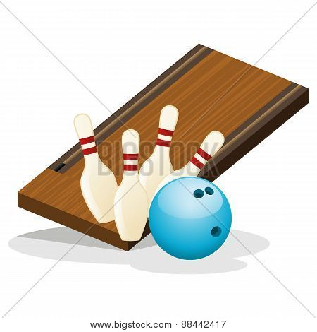 Bowling Arena and Ball Vector Illustration