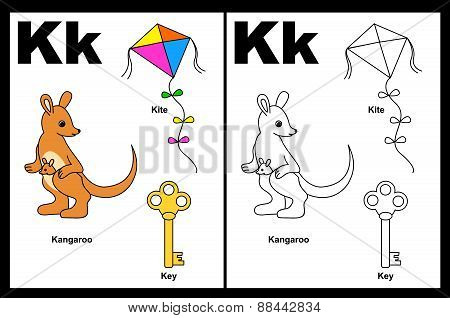 Kids Coloring Book Page Letter K