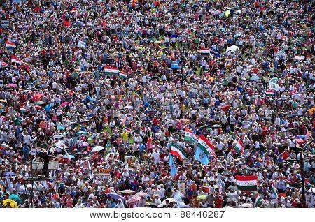Crowd Of Catholic Pilgrims Gathering To Celebrate The Pentecost