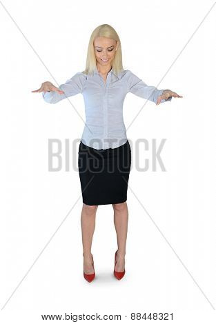 Isolated business woman puppeteer smile