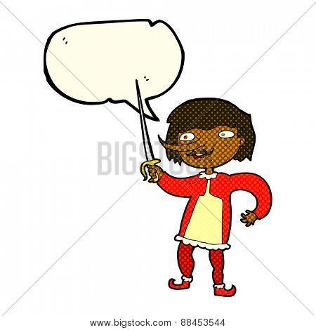 cartoon man with sword with speech bubble