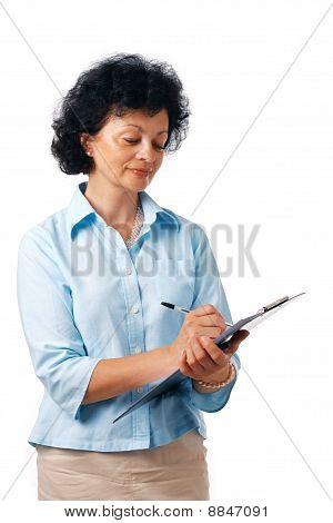 Woman Writing With Clipboard.