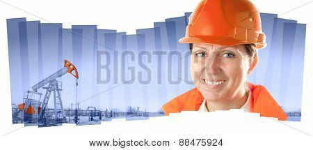 Female industrial worker in an oil field. Collage composition.