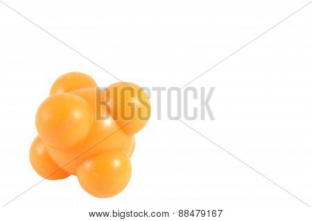 Orange ball rubber massage for relieve pain points clipping path included.