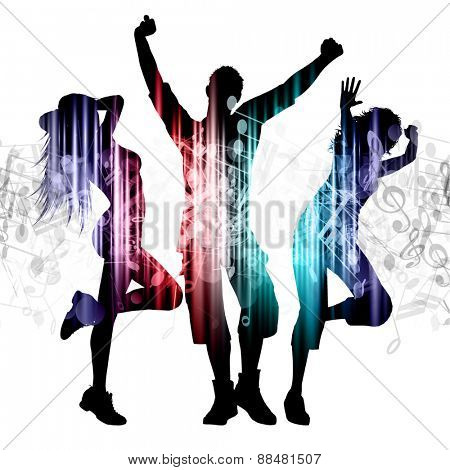 Slhouettes of people dancing on music notes background