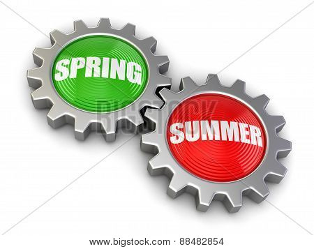 Gears with Spring and Summer (clipping path included)