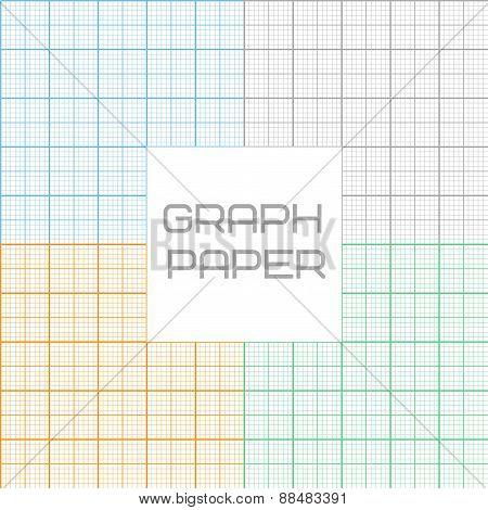 Vector graph millimeter paper seamless pattern set