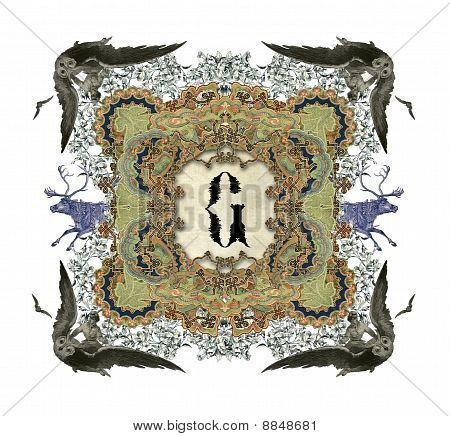 The Victorian capital letter G with four owls and two deer. poster