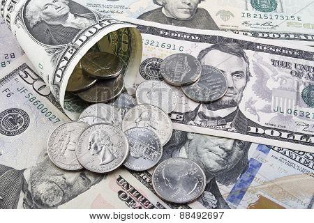 Us Dollars Coins And Banknotes.