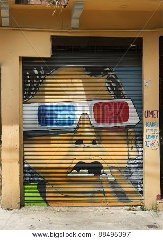 Graffiti Of Face With 3D Glasses.