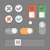 Vector Toggle switch icons dark background. On and Off, Check Mark. skrollbar poster