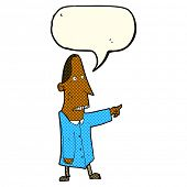 cartoon ugly man pointing with speech bubble poster