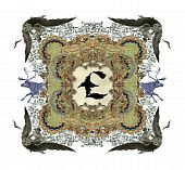 The Victorian capital sign British Pound with four owls and two deer. poster