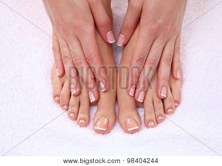 Beautiful feet with perfect spa french nail pedicure