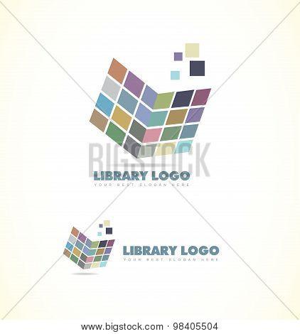 Library Open Book Logo Icon