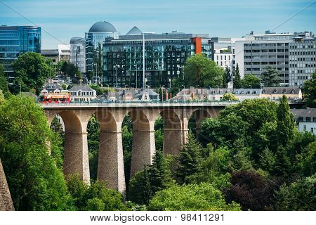Old Bridge, Passerelle Bridge Or Luxembourg Viaduct In Luxembour