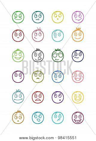 24 Smiles Icons Set 1