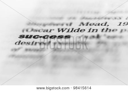 Business background - success in the dictionary, conceptual photo with shallow DOF
