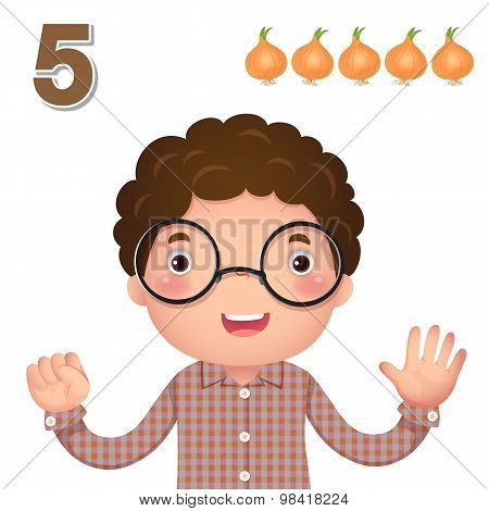 Learn Number And Counting With Kid's Hand Showing The Number Five
