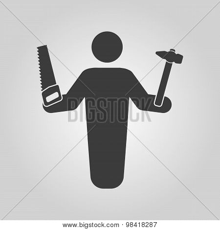 The carpenter avatar icon. Builder and handyman, craftsman symbol. Flat