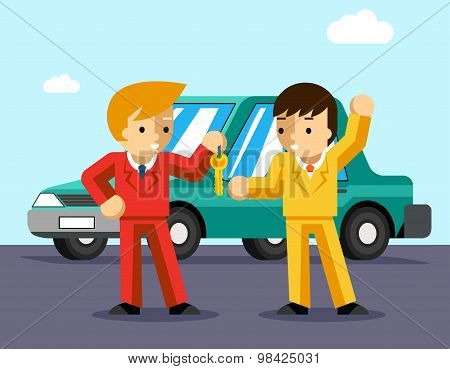 Buying car. Man gets keys to the car
