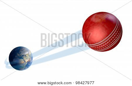 A sporting concept showing a regular red cricket ball swooshing out and above the earth onto an isolated white studio background poster