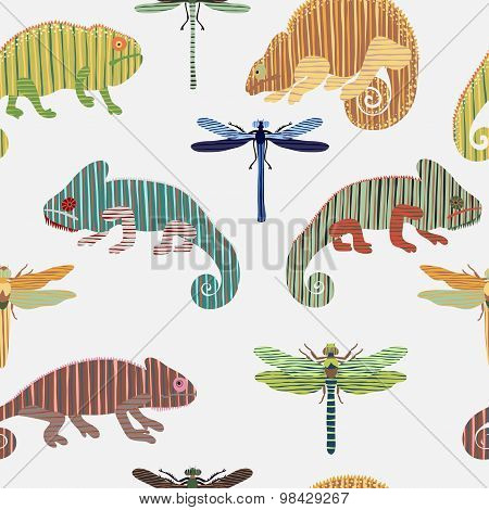 Seamless pattern with set chameleon and dragonfly in cartoon. Can be used for wallpapers, pattern fi