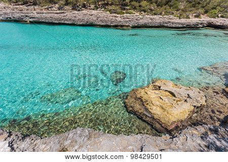 Turquoise Waters Of A Bay In The Mondragó Natural Park, Mallorca, Spain