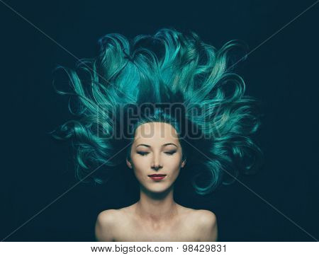 Beautiful Girl With Long Hair Of Turquoise Color