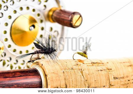 Close Up Of Fly Fishing Rod And Reel On White Background