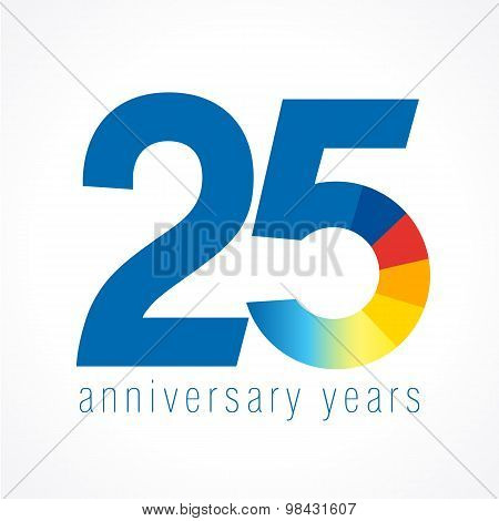 25 years old logo with pie chart. Anniversary year of 25 th vector round banner numbers. Birthday greetings circle celebrates. Celebrating digits. Colored figures of ages.