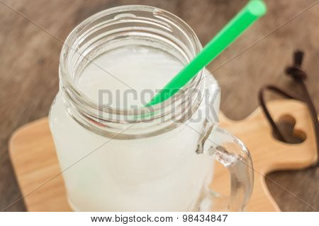 Fresh Cold Coconut Water Glass