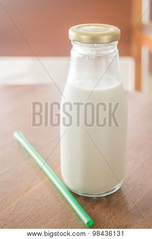 Bottle Of Soy Milk With Black Sesame