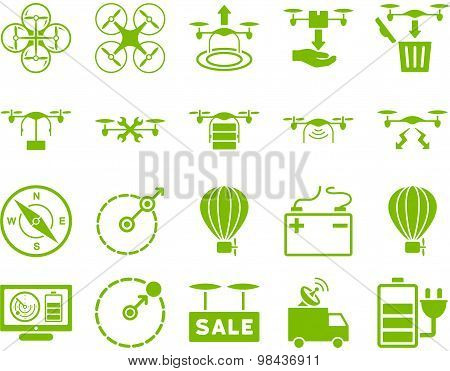 Air drone and quadcopter tool icons. Icon set style: flat glyph images, eco green symbols, isolated on a white background. poster