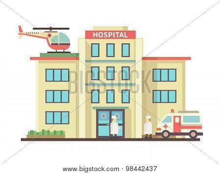 Hospital building flat style