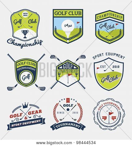 Set Of Golf Club, Golf Championship, Golf Gear And Equipment Badge Logo