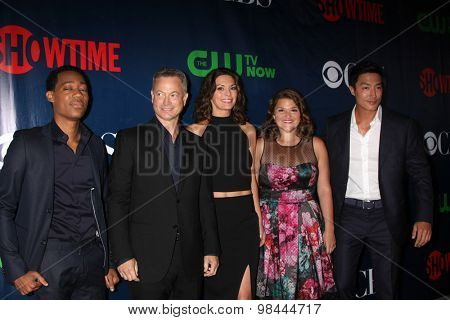 LOS ANGELES - AUG 10:  Tyler James Williams, Gary Sinise, Alana De La Garza, Annie Funke, Daniel Henney at the CBS TCA 2015 Party at the Pacific Design Center on August 10, 2015 in West Hollywood, CA