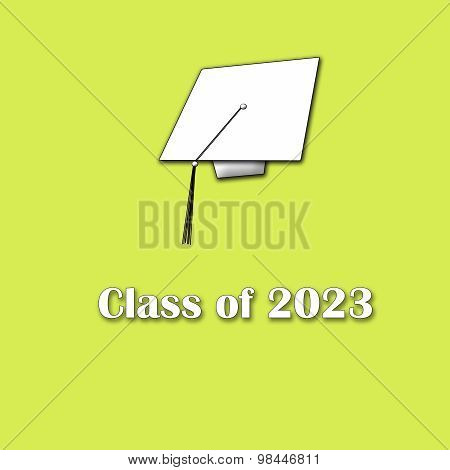 Class of 2023 White on Yellow Single Large