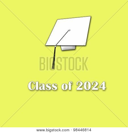 Class of 2024 White on Yellow Single Large