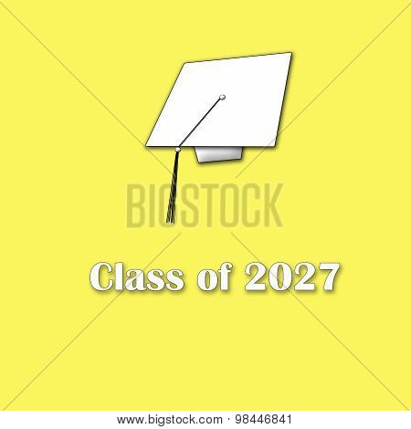 Class of 2027 White on Yellow Single Large