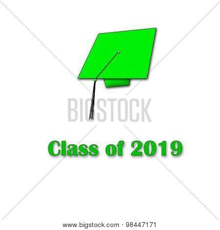 Class of 2019 Green on White Single White