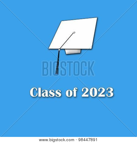 Class of 2023 White on Blue Single Large