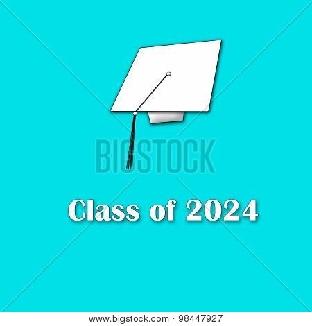 Class of 2024 White on Blue Single Large