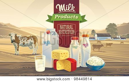 Rustic landscape with a cow, and set of milk products, with the words: