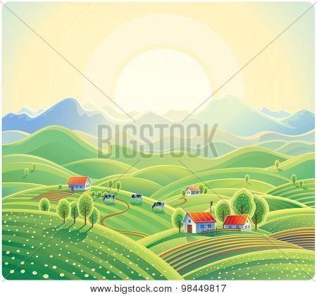 Summer rural landscape with village.